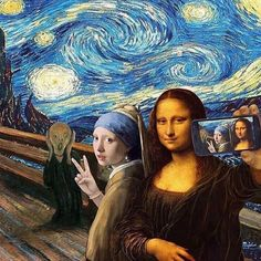 just LOVE this famous painting selfie! Editor unknown but including the greats: The Scream by Edvard Munch, Starry Night by Vincent van Gogh, Girl With a Pearl Earring by Johannes Vermeer and Mona Lisa by Leonardo da Vinci.