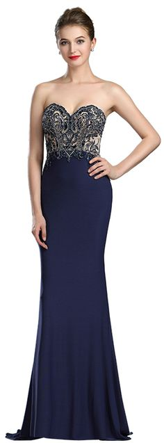 eDressit Sparkly Navy Blue Beaded Backless Evening Dress