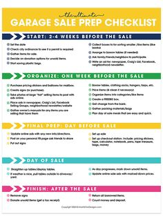 If you're thinking about hosting a garage sale, using a free printable Garage Sale Prep Checklist will help you put on the most successful garage sale ever. Garage Sale Pricing, Garage Sale Signs, Garage Sale Organization, Kids Garage, Rummage Sale, Home Selling Tips, Organizer, Yard Sales, Free Printables