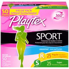 Playtex Sport 360 Degree Protection Tampons, Unscented, Regular & Super Absorbency, 50 Ct