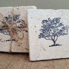 Tree of Life Coaster Set, Drink Coasters Set, Set of 4 Drink Coasters Rustic Coasters, Stone Coasters, Valentine Gifts, Holiday Gifts, Tree House Decor, Rustic Nursery Decor, Barn Wood Signs, Christmas Coasters, Drink Coasters