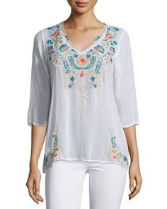 Tropic+3/4-Sleeve+Embroidery+Blouse,+Plus+Size+by+Johnny+Was+Collection+at+Neiman+Marcus.