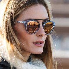Check out Olivia Palermo's brand new line of rose-gold sunglasses.