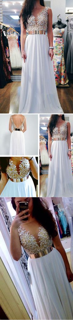 A-LINE STRAPS CHIFFON APPLIQUES PROM DRSESS/EVENING DRESS