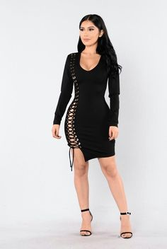 e6b1c29a373 Available in Black Mini Dress Long Sleeve Low V Neckline Criss Cross Side  Exposed Back Zipper Rayon Nylon Spandex. R L · Fashion Nova Dresses