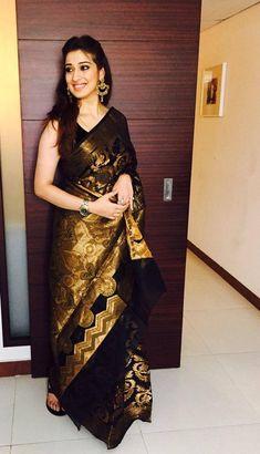 Kannada actress Laxmi rai traditional look in silk saree Modern Indian Sari Click VISIT link to read Stylish Sarees, Stylish Dresses, Lakshmi Sarees, Black Saree Blouse, Chiffon Saree, Silk Sarees, Saris, Indian Sarees, Saree Hairstyles