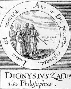 ALQUIMIA VERDADERA: Emblema 67. Dionisio Zacarías, filósofo. Este arte lo tiene reservado el poder de Dios y es dañino para los profanos.