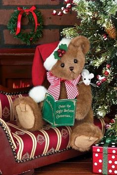 Bearington Bears Chris Mousetails Plush Christmas Teddy Bear with Mouse, in Dolls & Bears, Bears, Bearington Christmas Teddy Bear, Christmas Toys, Christmas Decorations, Christmas 2016, Teddy Bear Hug, Cute Teddy Bears, Yule, Christmas Photography, Bear Doll