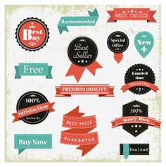 Vintage flair free vector badges