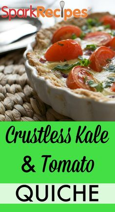 Crustless Kale, Sundried Tomato, and Parmesan Quiche Recipe. The great thing about this quiche is you can throw in almost any vegetables you have on hand--and it still turns out delicious and so nutritious! | via @SparkRecipes
