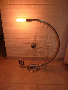 Bicycle wheel desk lamp gift for guys bike parts by NEBOcrafts
