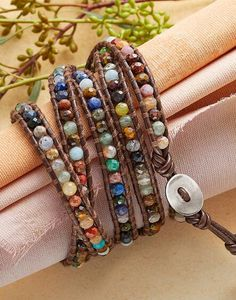 Vibrant gemstones wend their way around your wrist on this lovely Chan Luu leather wrap bracelet.