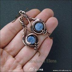 Elegant Earrings Made of Wire and Stone...♥ Deniz ♥