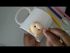 CANECA URSINHO SEM MOLDE!!! - YouTube Mug Decorating, Clay Mugs, Clay Baby, Polymer Clay Flowers, Cup Design, Pasta Flexible, Biscuits, Diy And Crafts, Tableware