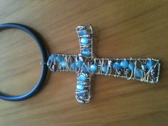 bead and wire cross necklace inches) made by jo roake Wire Jewelry, Jewelry Crafts, Jewelry Art, Wire Crosses, Cross Necklaces, Beaded Cross, Wire Pendant, Beads And Wire, Wire Art