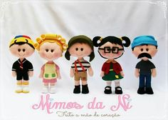 Turma do chaves Wool Dolls, Felt Dolls, Fabric Dolls, Paper Dolls, Puppet Patterns, Felt Baby, Tiny Dolls, Clay Miniatures, Toy Craft
