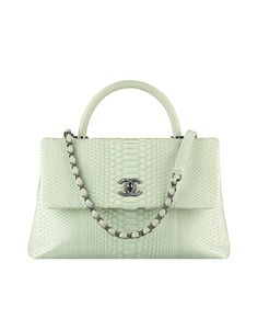 Flap bag with handle, python & lambskin-light green - CHANEL