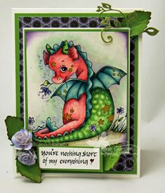 Copic card using the Sweet Pea Stamps - Little Peppermint Puff stamp.  Made by Marie