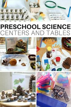 Easy preschool science center preschool discovery centers and preschool discovery tables for home or classroom use. Explore preschool science with child led science activities on a variety of themes. Plus read about science centers from teachers! Science Area Preschool, Preschool Set Up, Preschool Classroom Setup, Kindergarten Centers, Science Experiments Kids, Science For Kids, Preschool Activities, Science Table, Summer Science