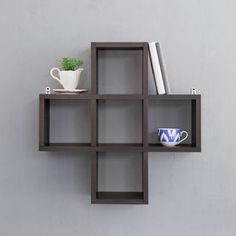Cubed Aliyah Wall Shelf Wenge - Beautiful simplicity Wenge colored stylish Aliyah wall shelf for keeping your miscellaneous stuff organized in your bedroom or the living room. Decorating the shelf with some abstracts will even be another drill that may renew your interior.Trouble free installsThe assembled wall shelf offers easy installation and particle board ensures endurance and longevity.