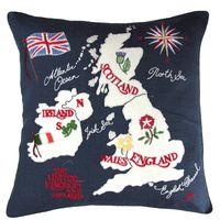 Jan Constantine - British Isles map cushion, navy blue linen, hand-embroidered - 185