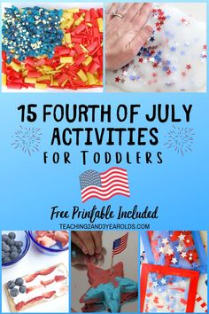 These 15 toddler of July activities chosen specifically for young children add some patriotic fun to your art and sensory centers. Includes a free star sorting printable! Crafts For 2 Year Olds, Activities For 2 Year Olds, Summer Activities For Kids, Crafts For Kids, Sensory Bottles For Toddlers, Sensory Activities Toddlers, Infant Activities, Preschool Ideas, Learning Activities