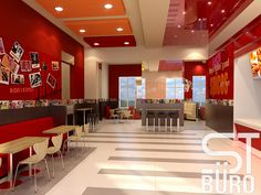 Ресторан KFC в Ставрополье. По условиям тендера необходимо было разработать оригинальный интерьер ресторана, не выходя за рамки бренд-бука. Сложная конструкция многоуровневого потолка в сочетании матовых и глянцевых текстур расширяет пространство. Геометрический рисунок на полу сочетается с темной отделкой внизу стен. Стены зала украшены символикой ресторана и интересными снимками из жизни знаменитостей.  #цветныедетали #комфорт #атмосфера #дизайн #интерьер #дизайнинтерьера #бюродизайна…