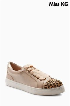 Buy Miss KG Nude Louie Ribbon Laces Animal Cuff Sneaker from the Next UK online shop