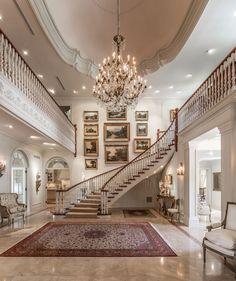 Interior staircase, grand staircase, modern mansion interior, dream house i Mansion Interior, Home Interior Design, Luxury Interior, Mansion Rooms, Design Homes, Bohemian Interior, French Interior, Luxury Furniture, Interior Ideas