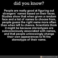 People are really good at figuring out strangers' names based on their faces. Studies show that when given a random face and a list of names to choose from, people guess the right name more often than when left to chance. Scientists think it might be...