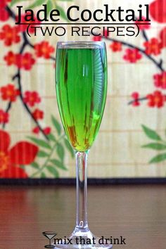 There are a few cocktails called the Jade cocktail, and they're very different. Here are two versions, one featuring rum, crème de menthe and Cointreau, and another featuring Midori and champagne. Midori Cocktails, Green Cocktails, Easy Cocktails, Cocktail Recipes, Spring Cocktails, Classic Cocktails, Holiday Cocktails, Spiced Rum Drinks, Coconut Rum Drinks