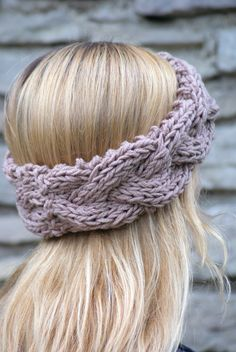 Braided cable knit headband (shown in soft taupe) from SparklyTwig. Also available in Glitter Gray, Aqua, Chocolate, and Aran