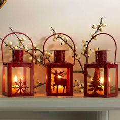 Decorations. Cool Red Candle Lantern Christmas Centerpiece Come With Reindeer Snowflakes Christmas Tree Metal Cut Out.
