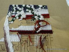 5 of 5 Mixing threads to shade the eaves. Click through to page for full details. Stitch Pictures, Needlepoint, Cross Stitch, Reusable Tote Bags, Shades, Red, Punto De Cruz, Seed Stitch, Cross Stitches