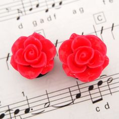 5/8 16mm Hot Pink Rose Acrylic Plugs for Stretched by Glamsquared