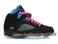 check out ce6ab d3a63 Air Jordan 5(V) Retro Chaussures Nike Jordan Pour Femme Pas Cher Noir Bleu  Rose-Sneaker Officiel Nike Air Jordan (Fr)  Laairjordan.xyz