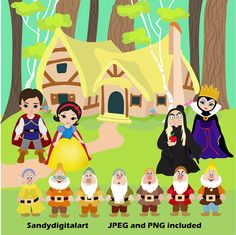 Snow White Digital Clipart / Cute Princess Digital Clipart for Personal and Commercial use / INSTANT DOWNLOAD