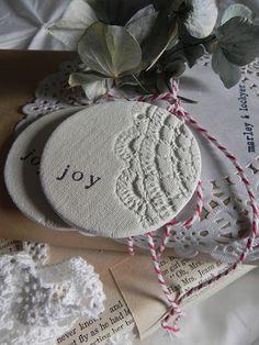 Salt dough, cloth texture, dollar store doily, Christmas words