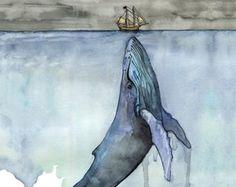Orca de acuarela y pintura de la muchacha  por TheColorfulCatStudio