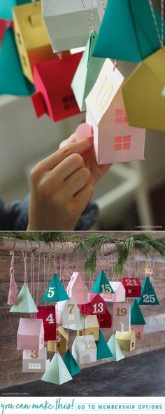 DIY Advent Calendar Village - Lia Griffith - www.liagriffith.com #diyadventcalendar #diychristmas #diyholiday #adventcalendar #paper #paperart #papercut #homefortheholidays #madewithlia