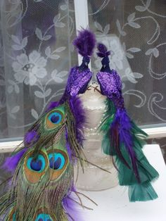 CUSTOM Peacock Lovebird pair cake topper in GOLD for by Ivyndell, $60.00