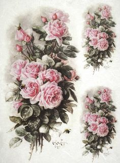 Rice Paper for Decoupage Scrapbook Craft Sheet Light Pink Roses Bouquets Paper Napkins For Decoupage, Decoupage Art, Decoupage Vintage, Vintage Paper, Baby Food Jar Crafts, Vintage Rosen, Decoupage Printables, Pink Rose Bouquet, Light Pink Rose