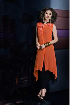 #Orange mesmerizing georgette sleeveless #kurti with chinese #collar -WKR267 - #Tunics & Kurtis #summer #party #wear #sexy #classy #new #collection