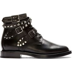Buffed leather ankle boots in black. Almond toe. Wrap_around ankle straps with silver_tone stud detailing and pin_buckle closure. Tonal lace_up closure. Tonal …