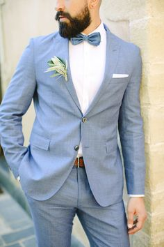 Blue groom attire | Photography: Anna Roussos
