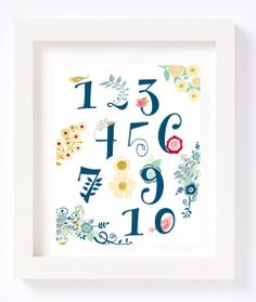 Floral Numbers Alphabet Flowers Whimsical Nursery Navy Blue Spring Nursery Art Print Kid's Room Playroom Decor Letters Baby Girl Gift by CheekyAlbi, $12.00