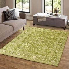 Add a splash of color to any space by displaying this lovely green rug. A bright, natural-looking green tone serves as the perfect backdrop for a detailed design. #goldrugs #buygoldrugs #buygoldrugsonline #rugknots Affordable Area Rugs, Oriental Design, Green Wool, Types Of Rugs, Modern Rugs, Traditional Design, Rugs Online, Space, Design Elements