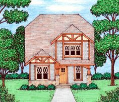 Elevation of Bungalow   Craftsman   Tudor   House Plan 53834