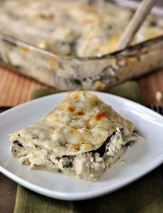 White chicken & spinach lasagna. Can easily be made and frozen for a quick meal!