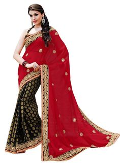 Red Black Georgette Party Wear Sarees With Embroidered, Lace, Print Works. Party Wear Sarees Online, Ethnic Wedding, Bollywood Party, Latest Sarees, Lace Print, Work Party, Sherwani, Kids Online, Indian Ethnic